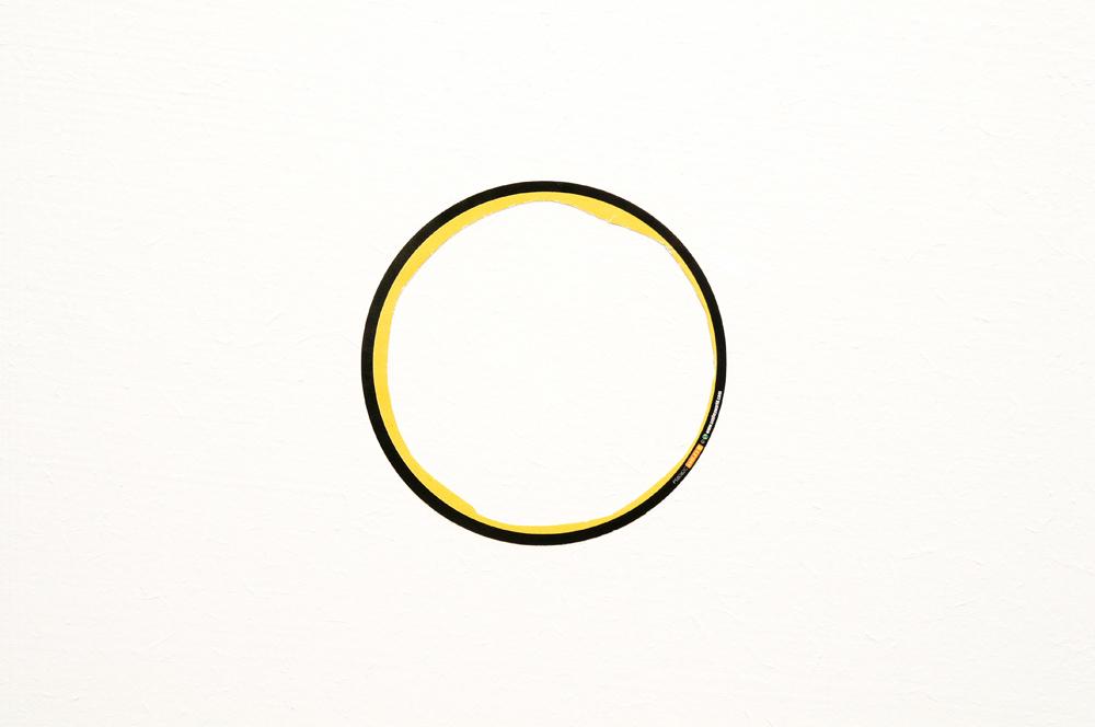Untitled, 2009, altered 'Smiley World' sticker, 8.5cm