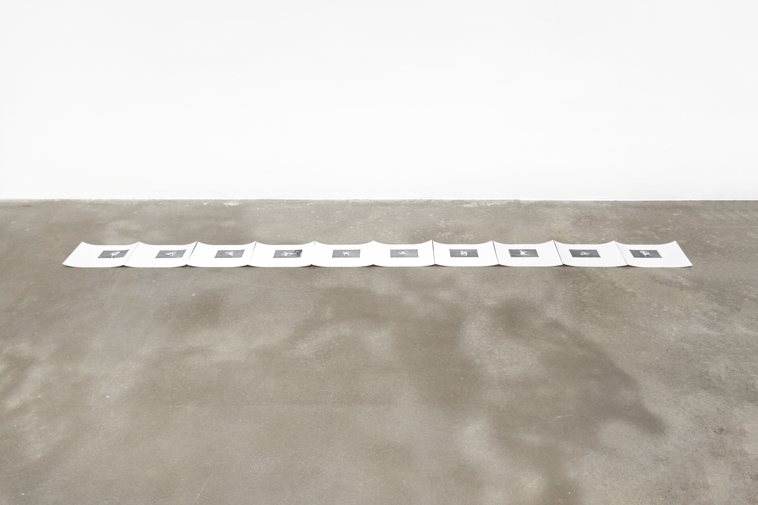 Chiffren für zehn Dispositionen, digital print and pencil on paper, each 21 x 29,7 cm, 2015
