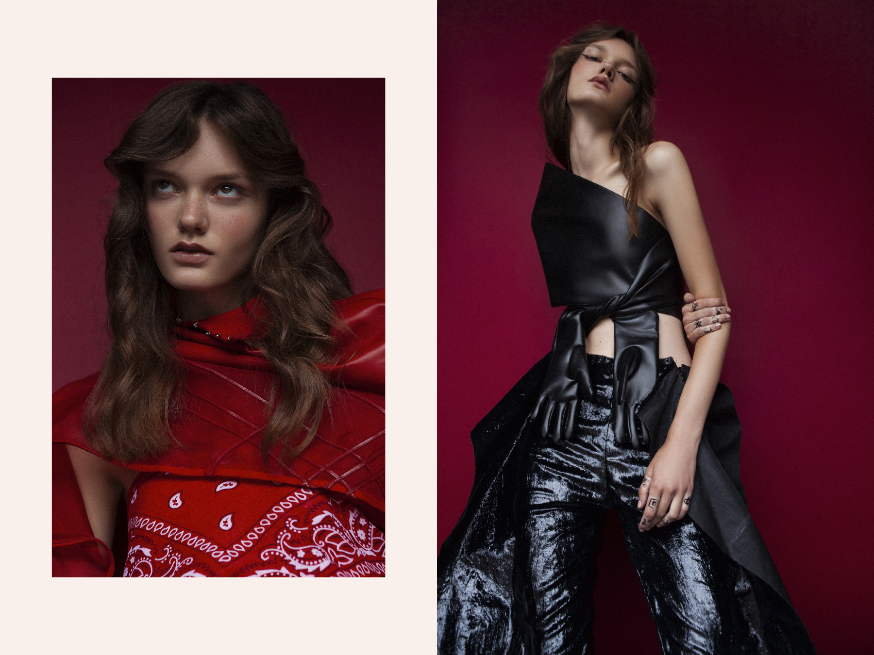 top by   CATARINA NIEDERMEIER   bandana  STYLIST'S OWN . top and gloves by   FENGYI TAN   trousers by   PAULA KNORR