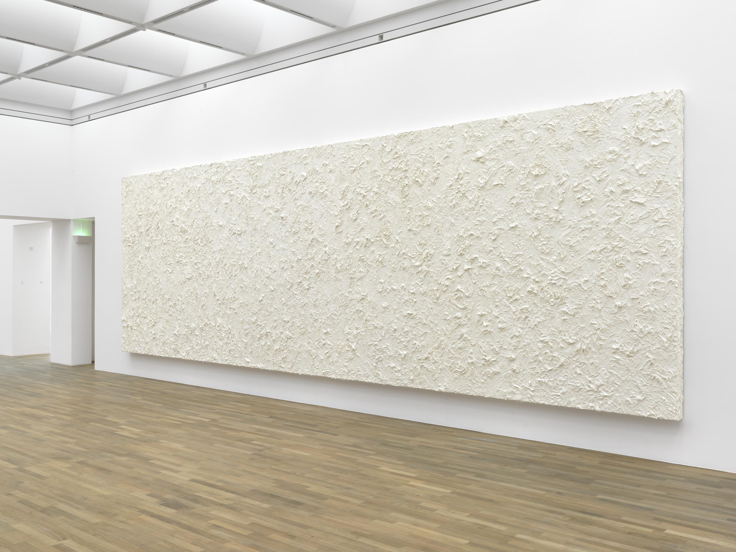 Untitled, 2011, Penaten baby cream on laminated chipboard, 350 x 1100 x 16 cm