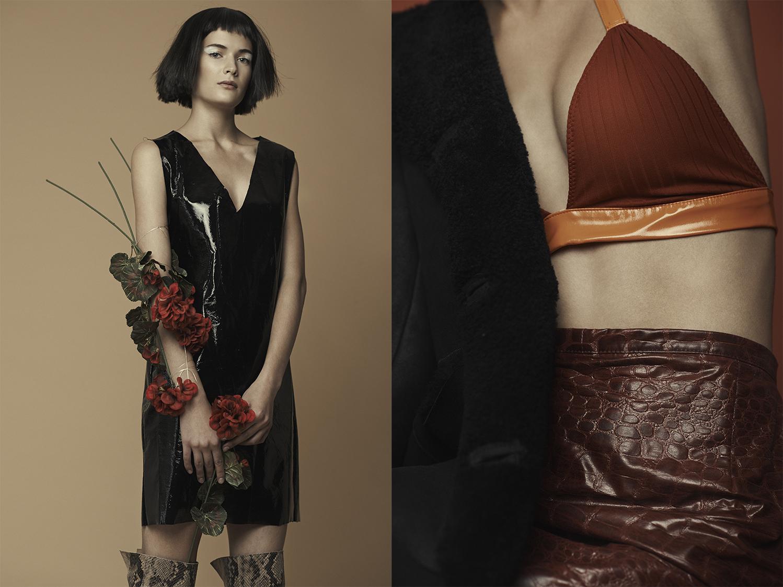 VYNIL HANDMADE DRESS .coat   MAURO GRIFONI   bra  CHEA  skirt  STYLIST'S ARCHIVE