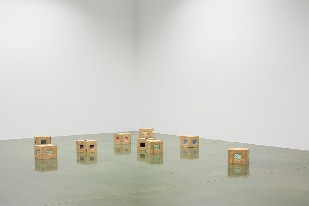 Atrapacielos, 2007/08, attached stretchers filled with oil painting,20 x 16 x 12 cm