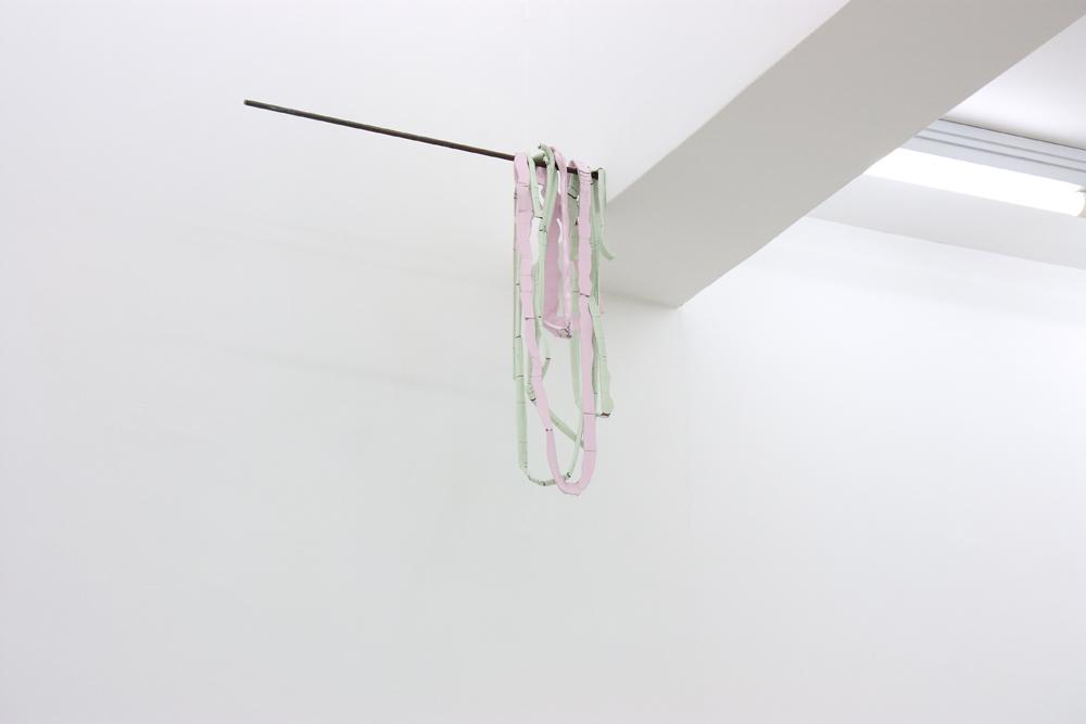 Oo, 2011, gouache on acrylic painting, and steel, 60 x 62 x 14 cm