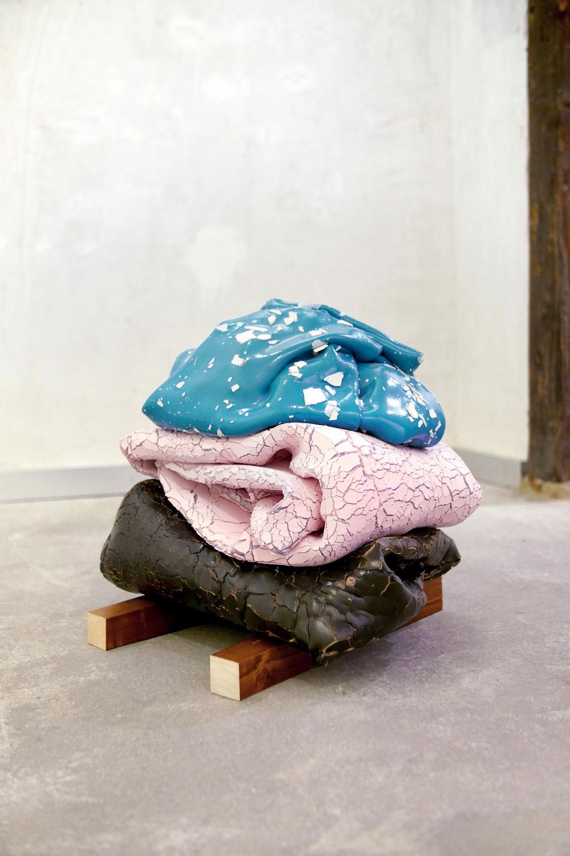 Mis pies, tu cabeza, 2014, layers of acrylic painting folded, indian ink, gouache, wood, 51 x 47 x 50 cm