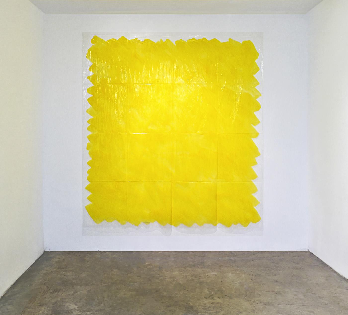 Quantitá di giallo, 1989, colored ink on transparent polyethylene, 200x 200 cm