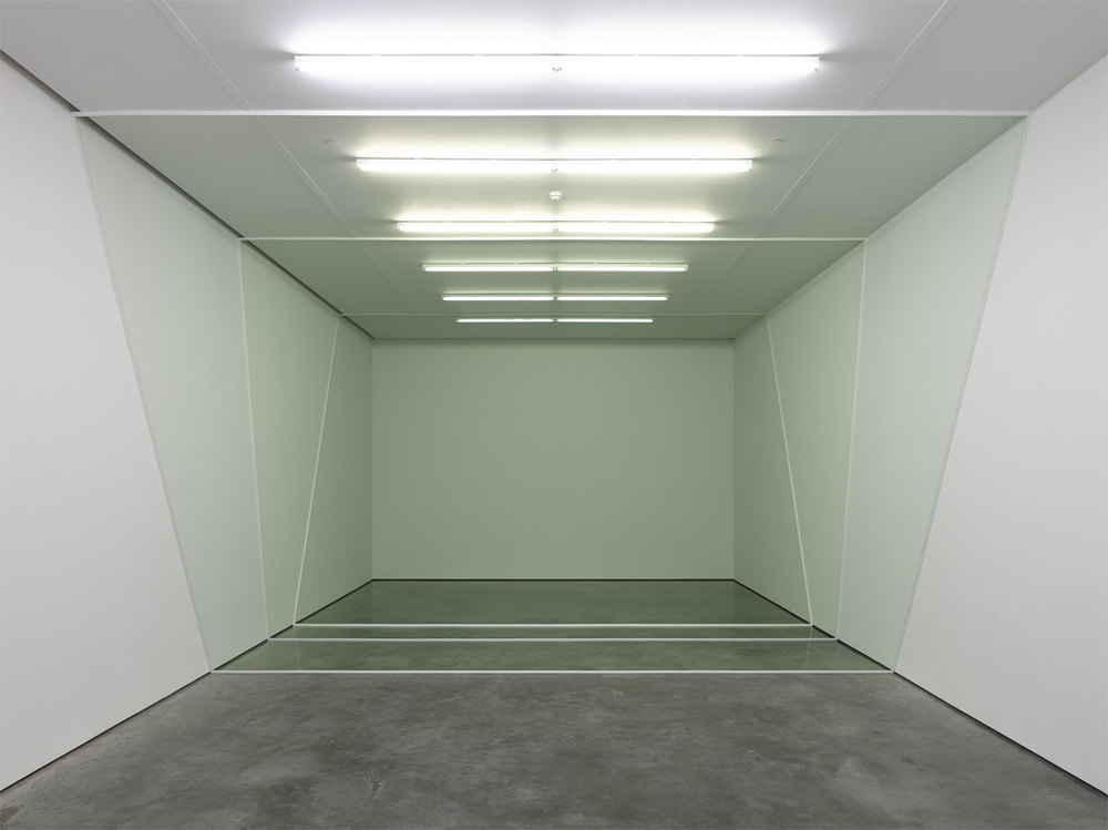 Three Sections, 2013, wood, floor wax and paint on wall installation view, White Cube, London
