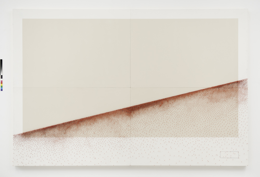 A line contains infinite points, 2011, wood, paint, map pins, 200 x 300 board, wall dimensions variable