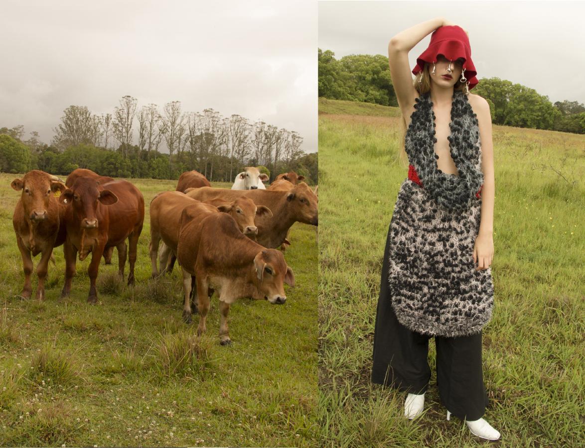 hat  AIDAN RENATA knitted dress  ISABEL WENGERT pants   LOUISE VICENZINO  boots  CIELLE MARCHAL