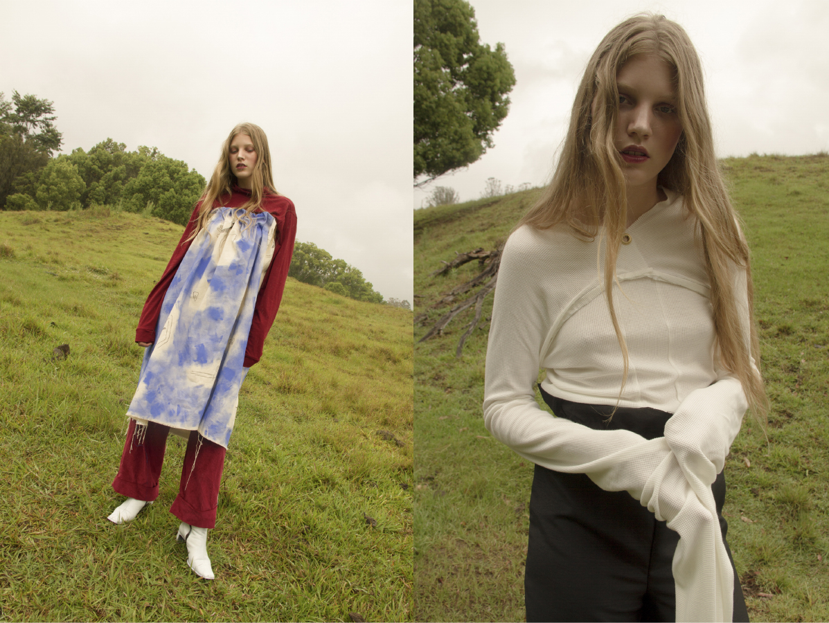 turtleneck and trousers  SATIN JUSTICE painted dress  ISABEL WENGERT  boots  CIELLE MARSHAL .long sleeve top   LOUISE VICENZINO  pants  ISABEL WENGERT