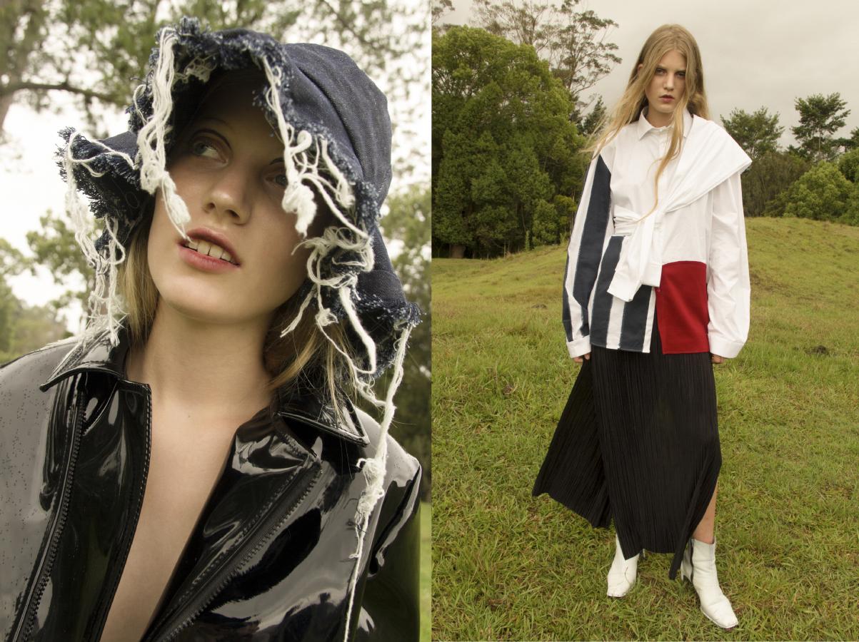 patent jacket  JONATHON RAE frayed denim hat  AIDAN RENATA .tie shirt  AIDAN RENATA pleated dress and boots  CIELLE MARCHAL