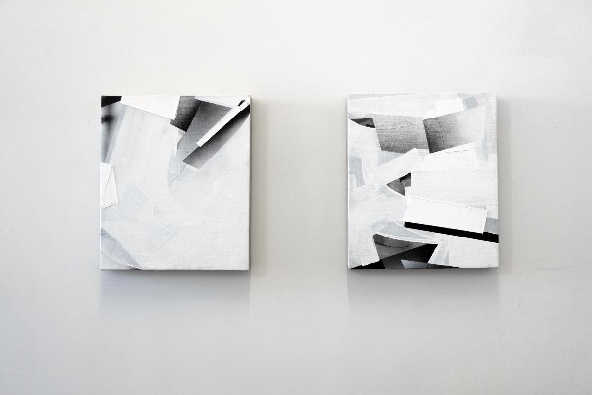 98 Aquarii, 2015, acrylic on linen, 14 x 12 cm.Omicron-2 Cygni, 2015, acrylic on linen, 14 x 12 cm