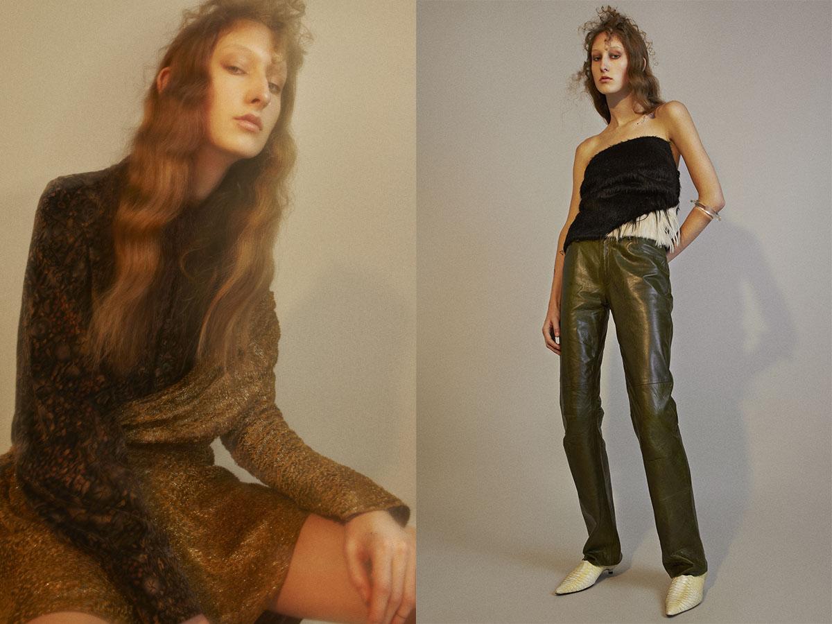 vintage shirt  STUDIO W PARIS  dress   LANVIN  .top, bangle and vintage shoes   NICE PIECE PARIS  vintage leather trousers   CHINEMACHINE