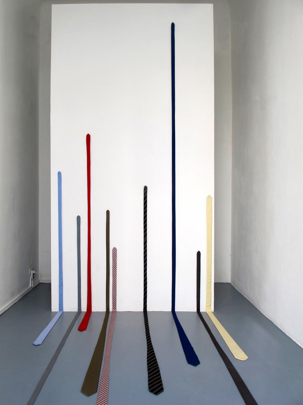 Panic and Euphoria, 2012, 9-part fabric sculpture, various textiles, 320 x 160 x 260 cm, framed poster 84 x 59 cm