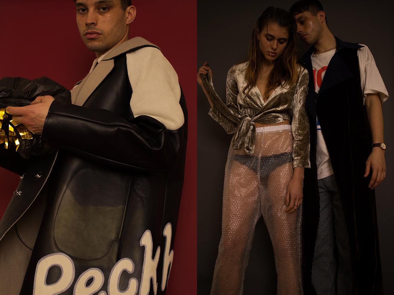 Oisín wears leather coat and pants   DANIEL W. FLETCHER  . Shanti wears top   SOPHIE CULL CANDY   bubble wrap pants   A-L-C-H   underwear  STYLIST'S OWN  and Oisìn wears t-shirt  STYLIST'S OWN sleeveless coat   CHIN MENS  pants   GRIND LONDON