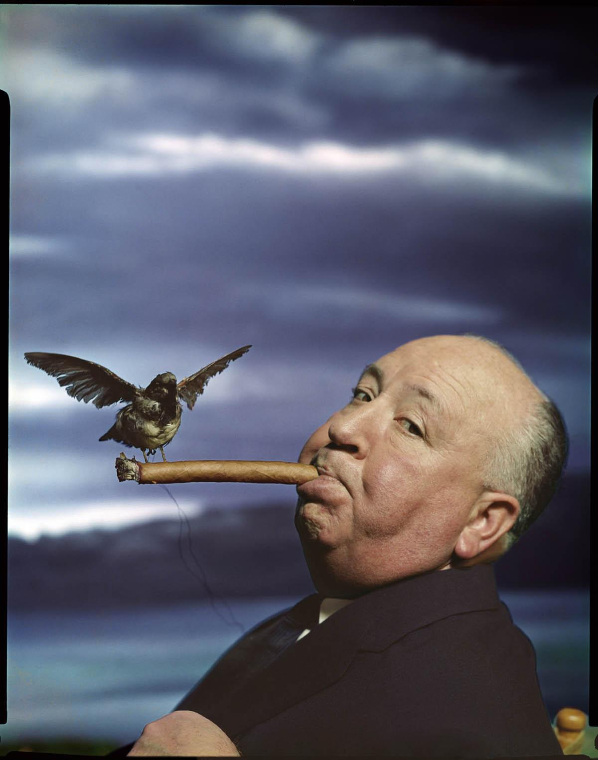 Portrait d'Alfred Hitchcock pour la promotion du film Les Oiseaux, 1962