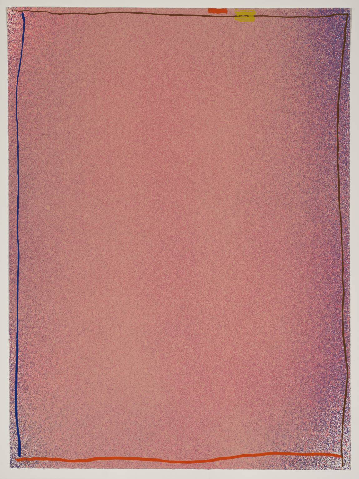 Pink/Blue with Orange, Tan and Yellow, 1970, 88.9 x 66.04 cm