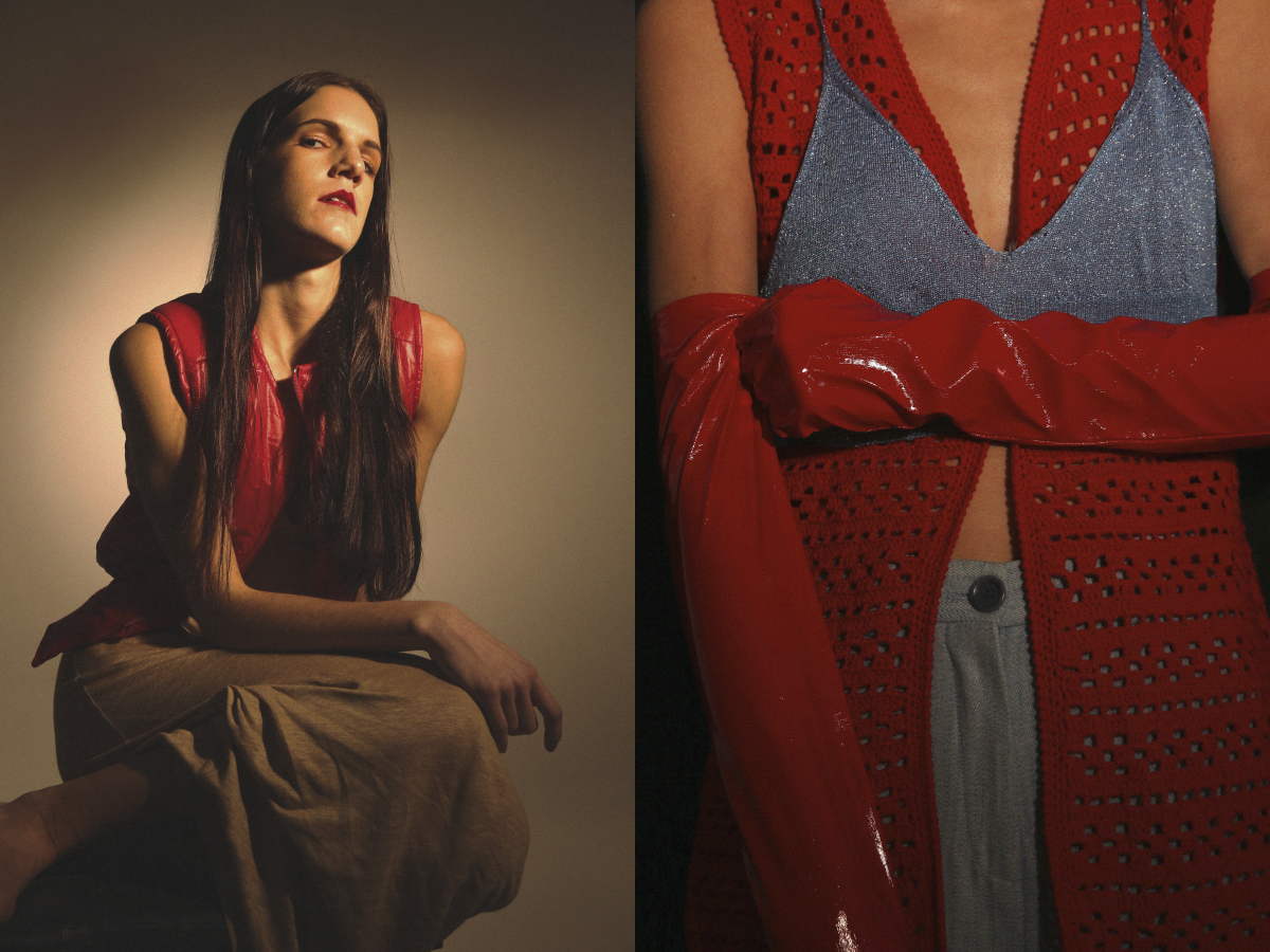 vintage bomber gilet  STYLIST'S ARCHIVE  cotton dress   MAURO GRIFONI  .vintage gilet and pac gloves  STYLIST'S ARCHIVE top   MAURO GRIFONI
