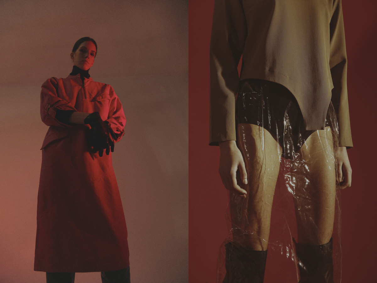 black turtleneck leather vintage dress and leather gloves  STYLIST'S ARCHIVE leather boots   STIÙ  . shirt   JACQUEMUS  culottes and pvc skirt  STYLIST'S ARCHIVE leather boots   STIÙ