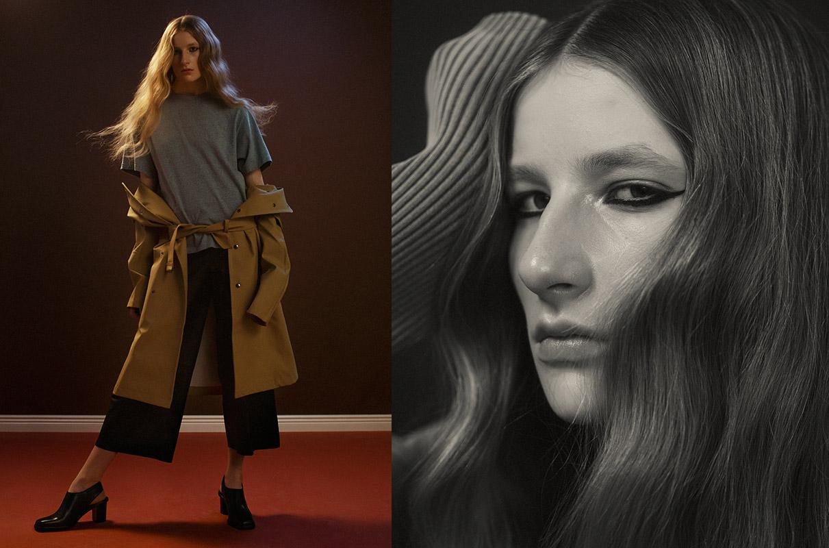 t-shirt   HAAL   coat   STUTTERHEIM   pants   BY MALENE BIRGER   shoes   AMEND ATELIER  .jacket   HAAL