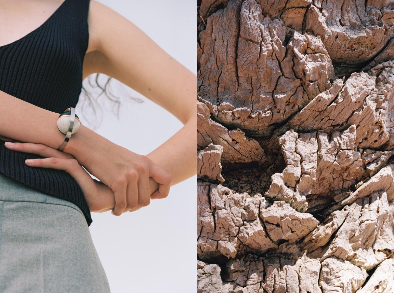 Kim wears top  VINTAGE  bracelet   DE LA FORGE