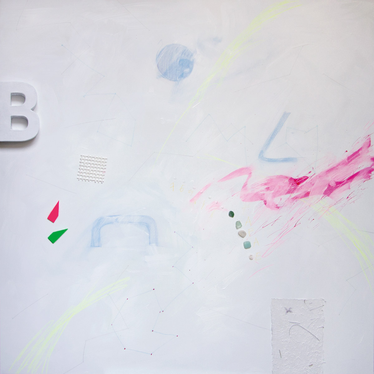 Spacevisual 13, 2015, acrylic, stones, wire, paper, graphite on canvas, 100x100 cm