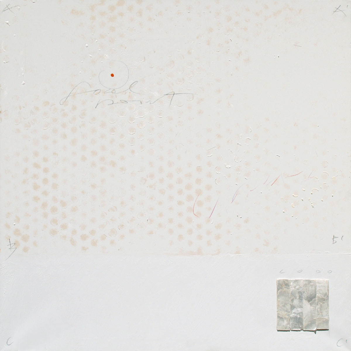 Advisual 11, 2009, acrylic, mother-of-pearl, chalk, pencil on canvas,70x70 cm