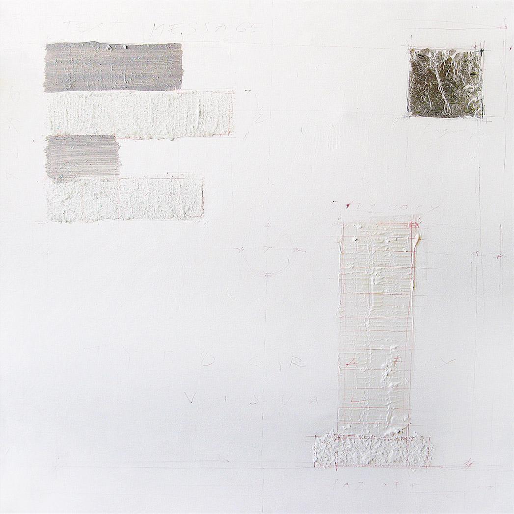 Advisual 2, 2000, oil, acrylic, solt, silver leaf, chalk on canvas, 100x100 cm