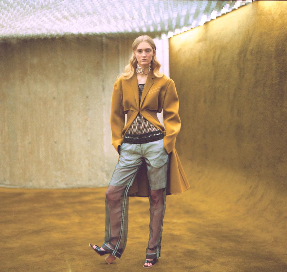 coat   CÉLINE   top   MASHA MA   pants   VERONIQUE BRANQUINHO   necklace   ANNE SOFIE MADSEN   shoes   AWAKE
