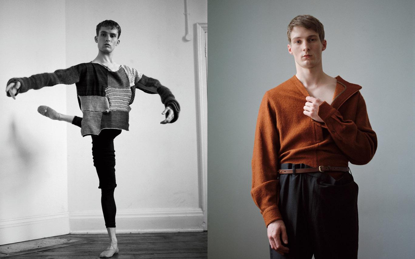 Juan wears jumper   VIVIENNE WESTWOOD  leg warmers   SANSHA  tights and shoes   DANCER'S OWN  . Michael wears jumper   WOOYOUNGMI  pants   STYLIST'S STUDIO  belt   FLEET ILYA