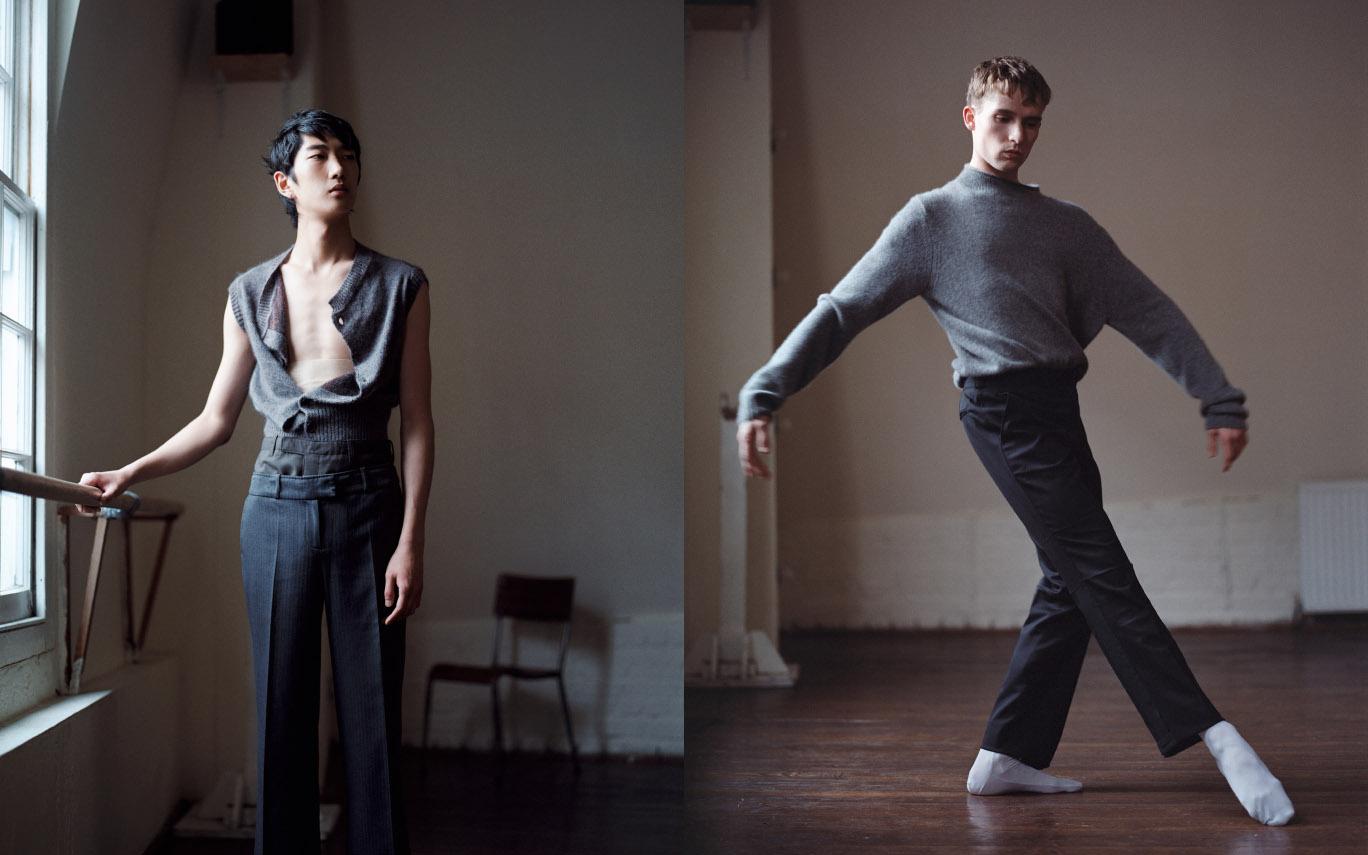 Bom wears cardigan   VIVIENNE WESTWOOD  belt   MARIE CANTENYS  pants   STYLIST'S STUDIO  .Juan wears sweater   JAC + JACK  pants   PRINGLE OF SCOTLAND