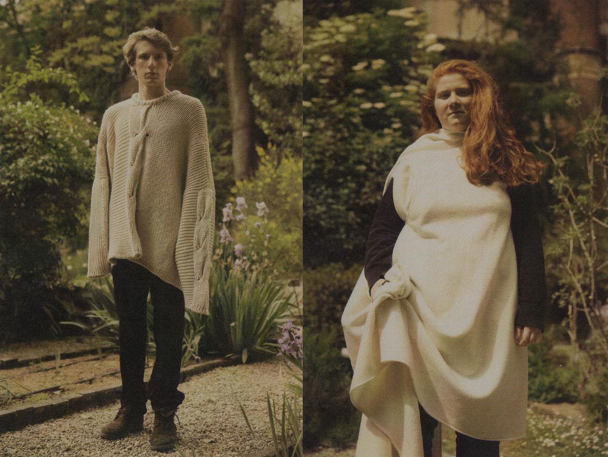 Tommaso wears sweater   MIAO RAN   pants   COMME DES GARÇON  . Anna wears   NOBI TALAI