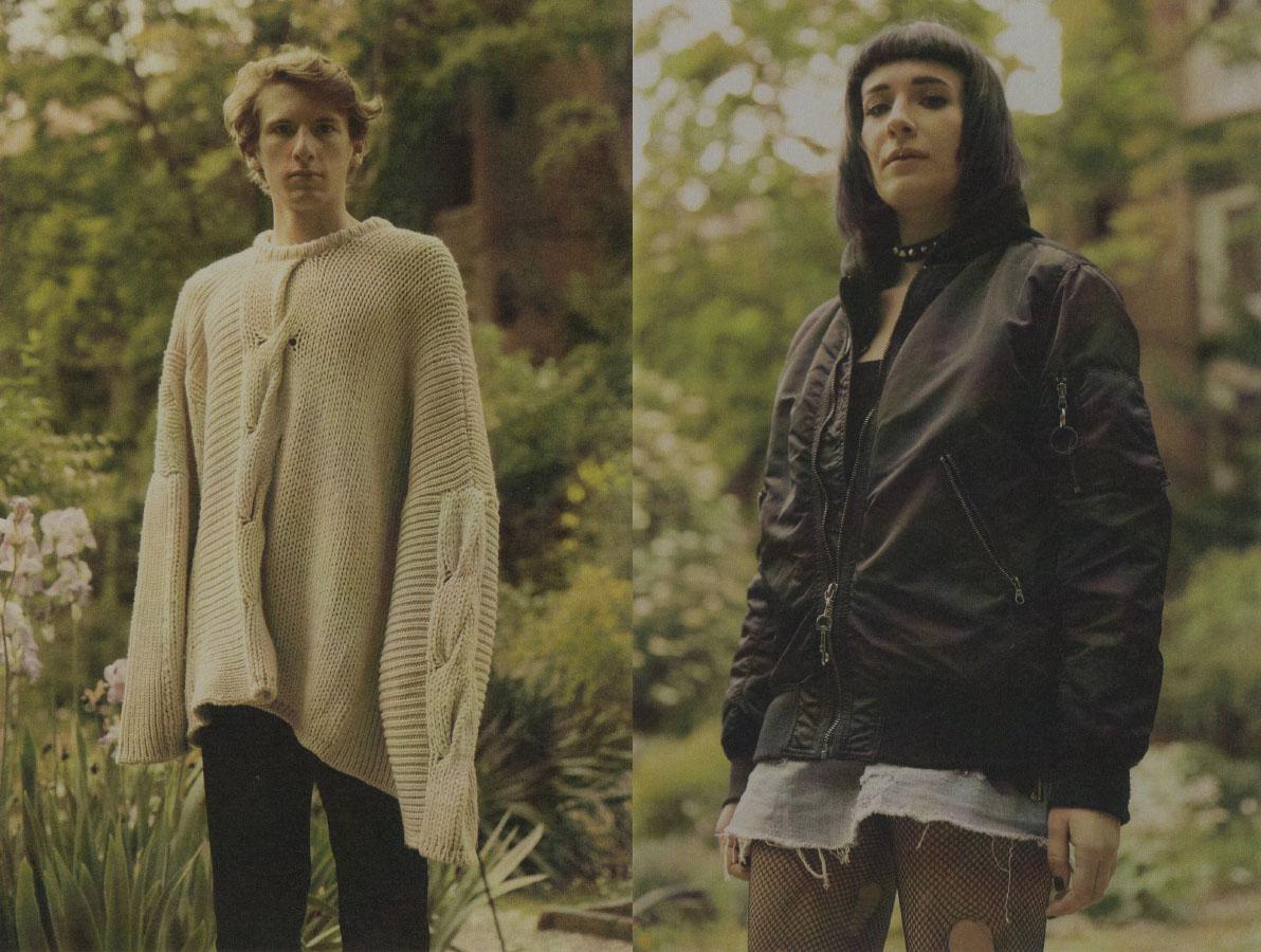 Tommaso wears sweater   MIAO RAN   pants   COMME DES GARÇON  . Maria Pia wears top, jacket and skirt   MODEL'S OWN
