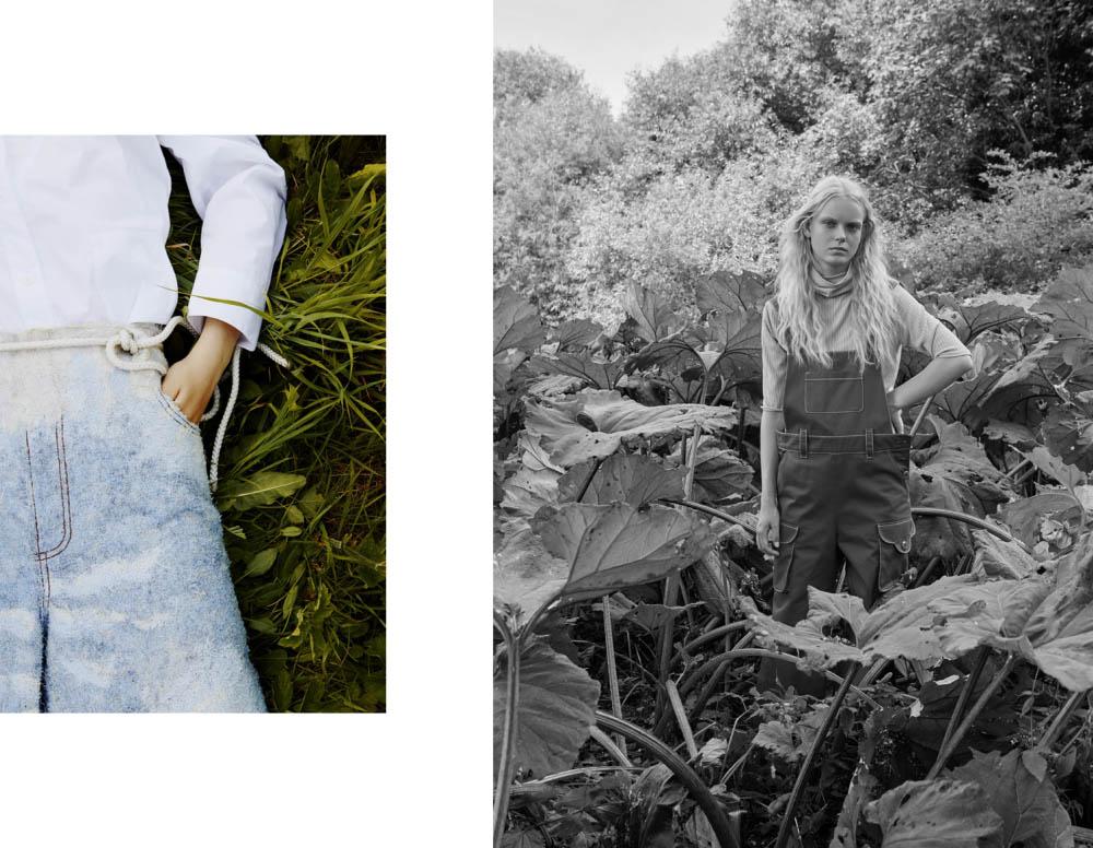 shirt   MINJU KIM   pants   ANNA BORNHOLD  . Greta wears turtleneck   SAMPLE CM   dungarees   MINJU KIM