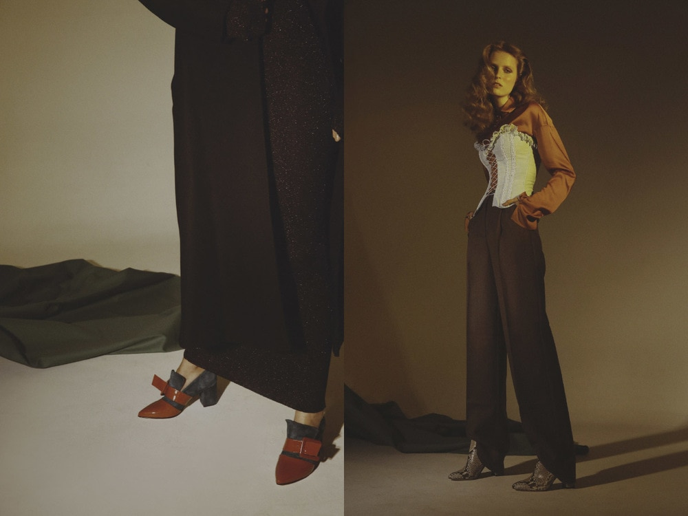coat   MARIANNA SENCHINA  dress   MARIOS   shoes   FABIO RUSCONI  .shirt   MARCO CORSO   pants   MARIANNA SENCHINA   corset   VINTAGE   boots   FABIO RUSCONI