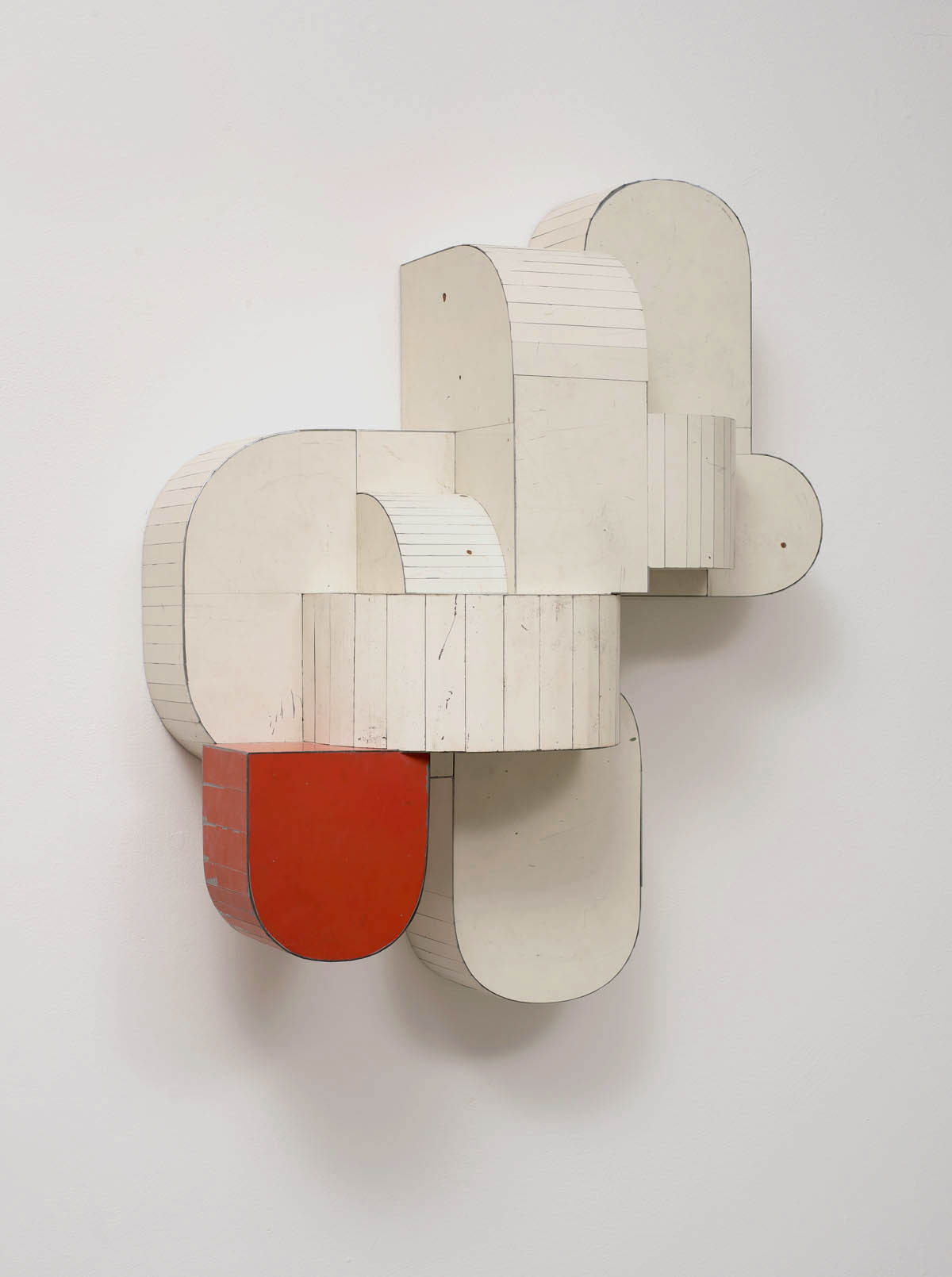 Safety Device, 2015, Salvage Steel, Marine-grade Plywood, Silicone, Vulcanized Rubber, Hardware, Chemicals, 60.96 x 50.8 x 20.32 cm.Consigned to Robischon Gallery, Denver, Colorado