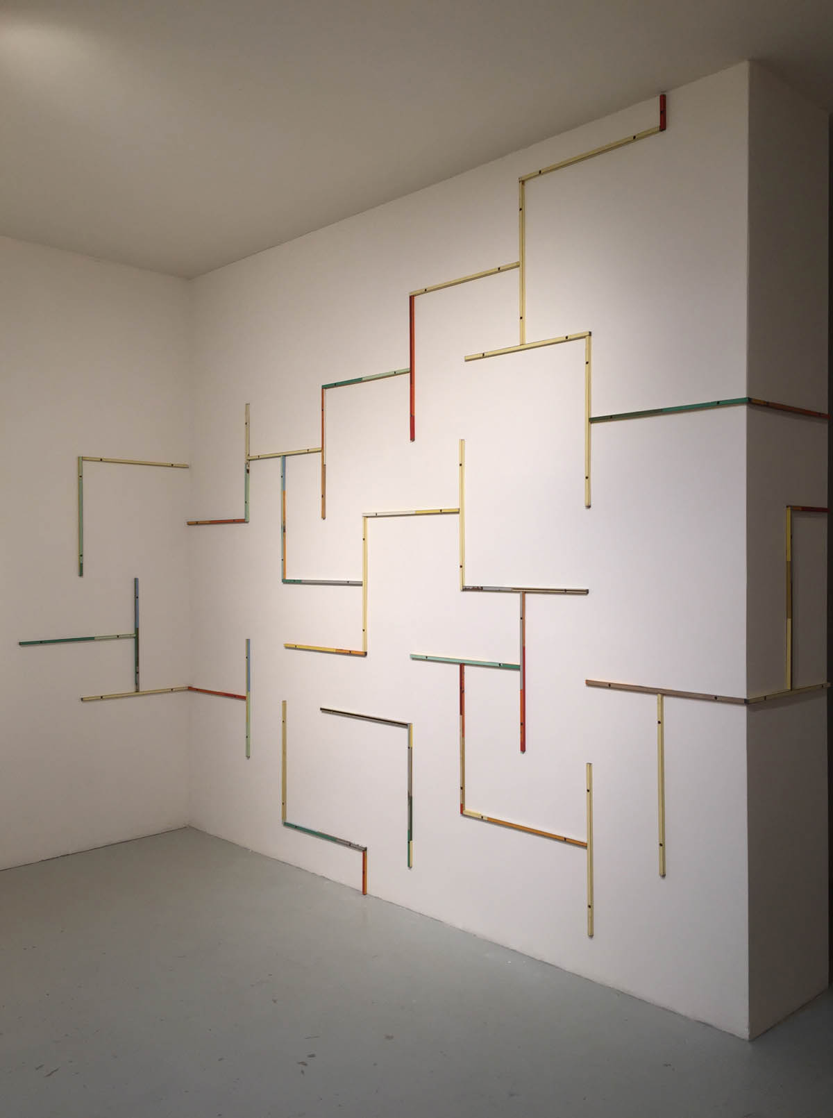 Work in Progress, As-Yet-To-Be-Titled, 2015-2016,Salvage Steel, Solid Steel Rod and Bolted Directly to Wall Whole Room Installation, dimensions variable. Exhibition schedule to date; Visual Arts Center of New Jersey, Summit, NJ, September, 2016 through January, 2017