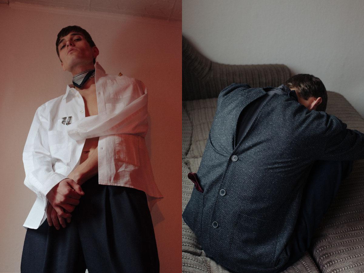 shirt and pants   GOETZE   scarf and brooch   VINTAGE  . blazer   GOETZE
