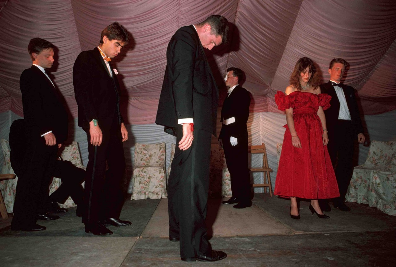 GB,England,Oxford, Students under hypnosis at Spring Ball,1989,From the Pleasure Principle