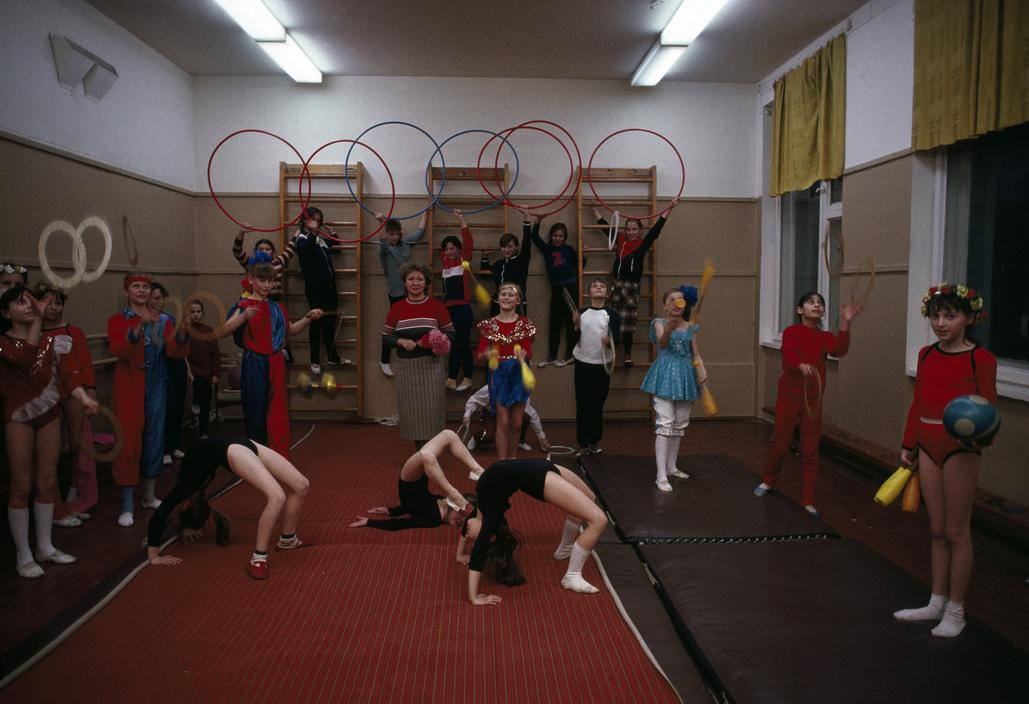 Russia, Moscow, 1988, Children working on their circus lessons at the Young Pioneers Palace