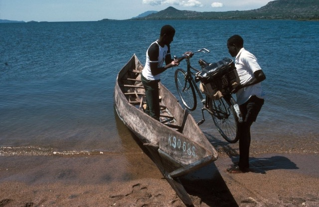 Kenya,Lake Victoria,Small Boat Ferry Transporting People To The Islands,1983