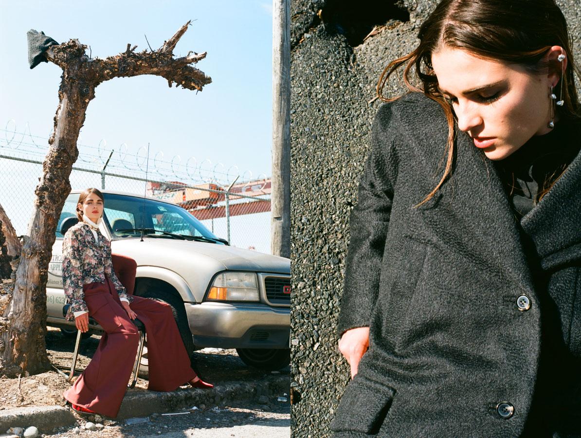 necklace   FARIS   pants   SCHAI   turtleneck, blouse and shoes   STYLIST'S OWN  .coat   SCHAI   earrings   FARIS