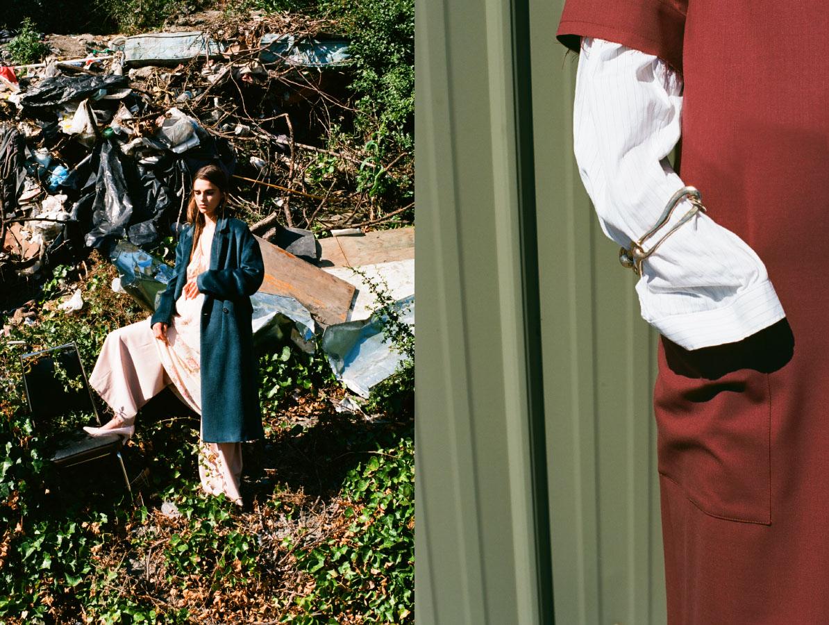 coat and pants   SCHAI   dress   STYLIST'S OWN   shoes   VINTAGE  .blouse   STYLIST'S OWN   dress   SCHAI   bracelet   FARIS