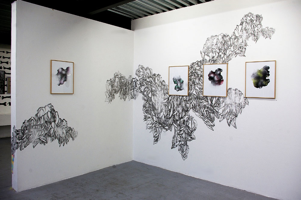 Les Hybrides, 2014-2016, drawing series ink on paper, colored pencil ,40x50 cm each. Wall Drawing sanded indian ink in-situ 2015 exhibition view, La Ligne Noire, Festival Graphéine, Lieu-Commun, Toulouse