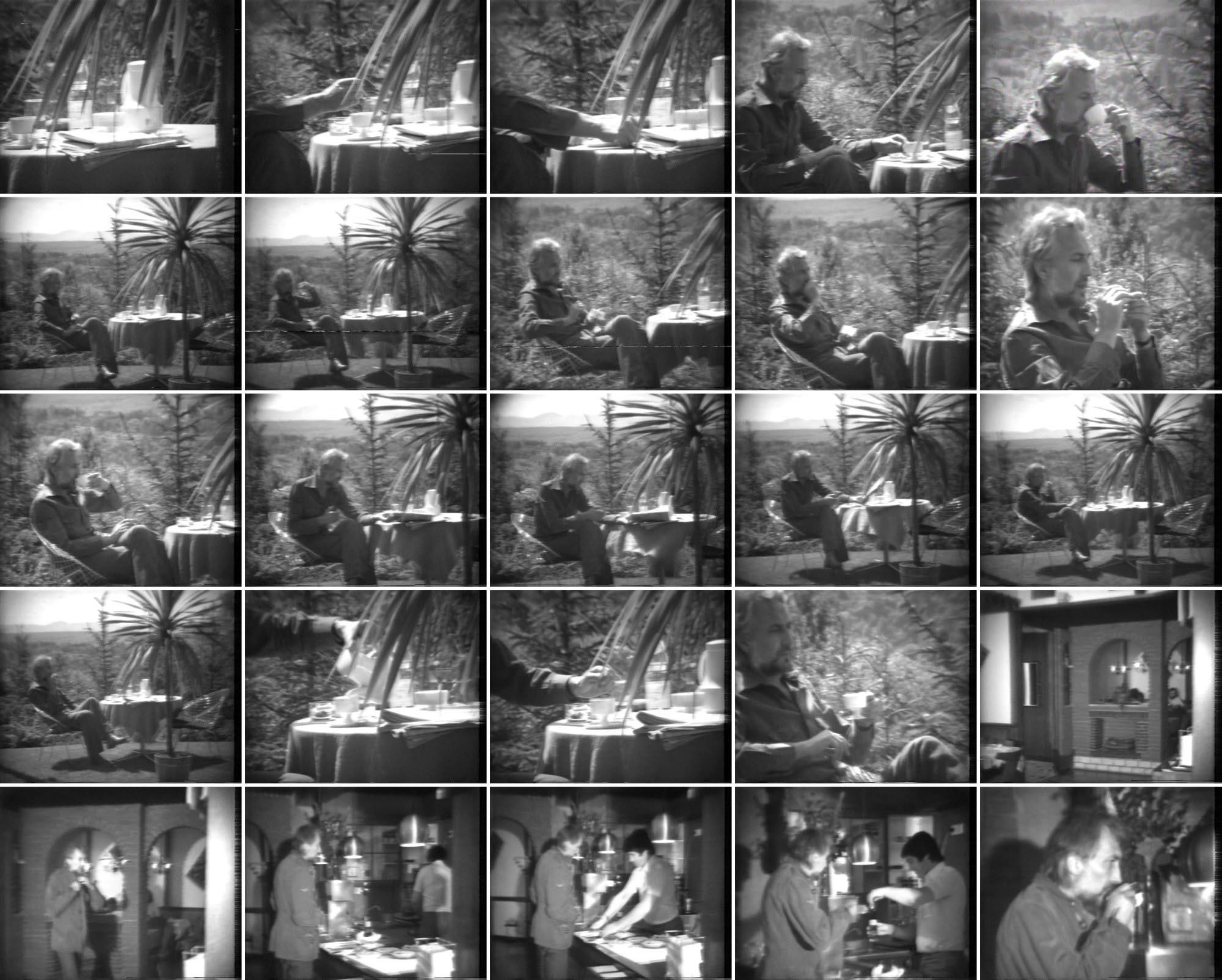 The Daily Ritual of Drinking Coffee video-performance, Ingrid Dacić Gallery, Tübingen, Germany.1976, b/w movie, sound movie