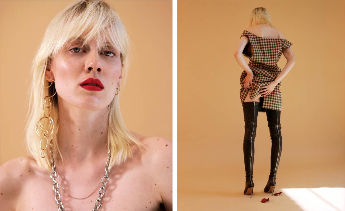 jewellery   WEEKDAY  . dress   PRADA   boots   MAISON MARGIELA