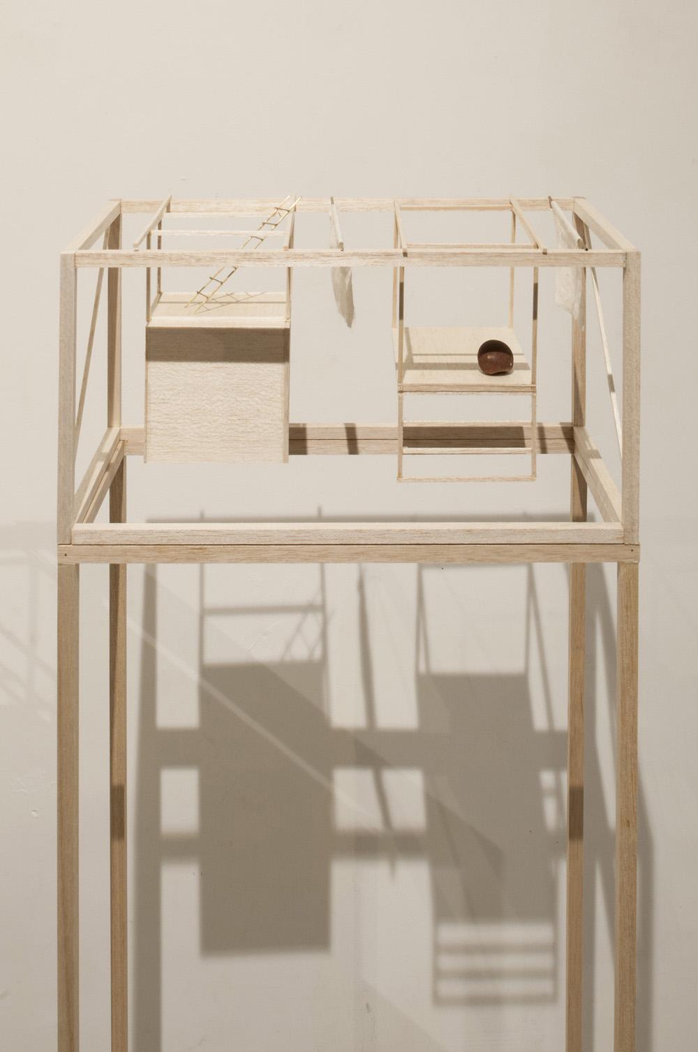 Maison 06, 2016, balsa, brass, stone, wire, cotton house 20 x 20 x 40 cm, pedestal 20 x 40 x 120 cm