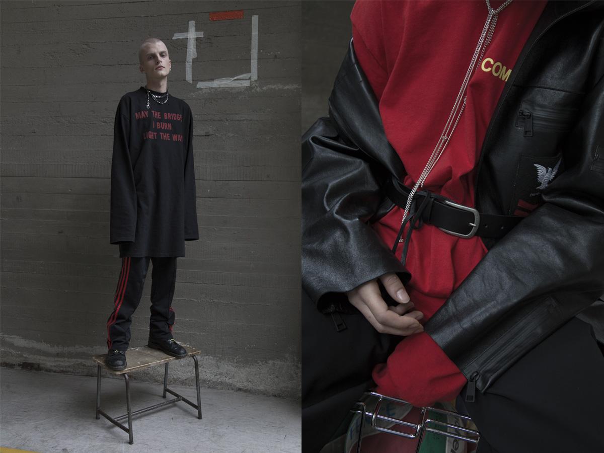 Nicola wears t-shirt   VETEMENTS   pants   ADIDAS   boots   DR.MARTENS  . Clara wears jacket and pants   NICOLA INDELICATO   t-shirt   COMME DES GARÇONS