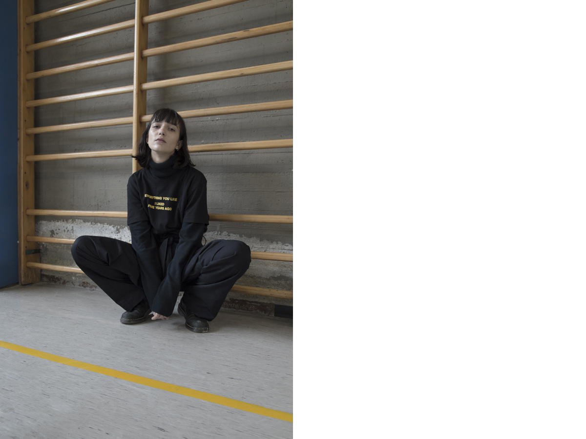 Clara wears t-shirt  OFF-WHITE pants   NICOLA INDELICATO   boots   DR.MARTENS