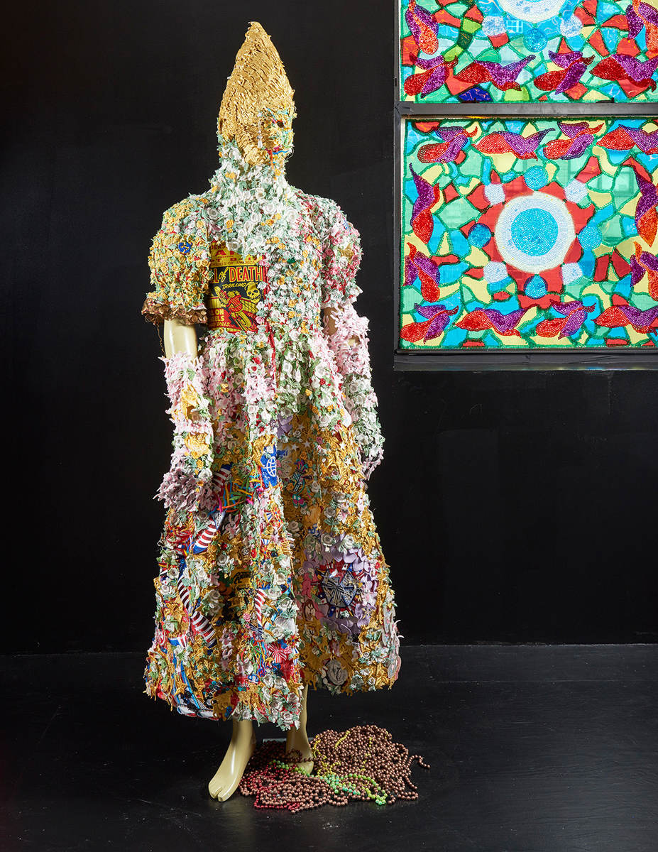 Somos Monstros / Erik (in collaboration with Erik Zajaceskowski), 2016, vintage millinery patches, fabric, mannequin, 198.12 x 68.58 x 35.56 cm