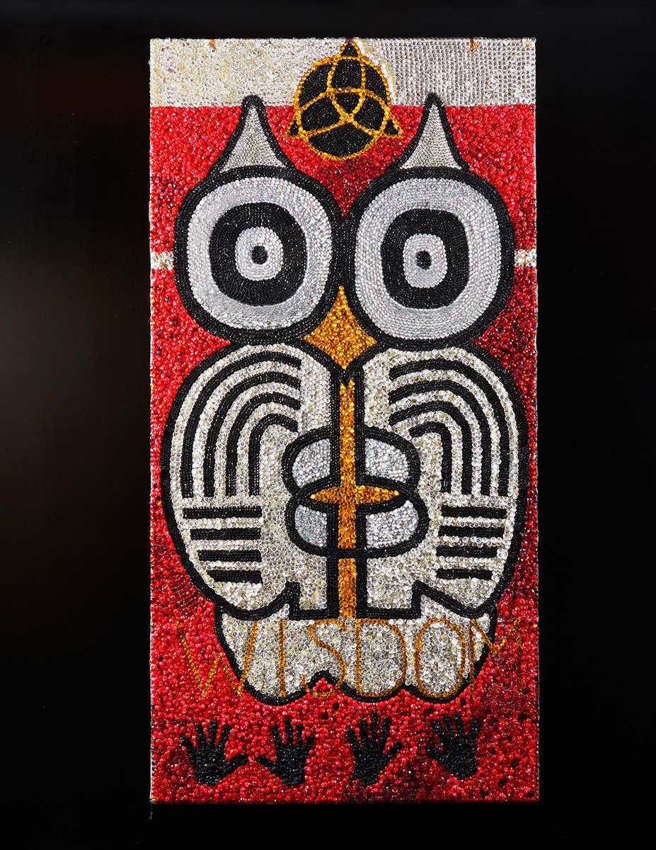 Wisdom, 2016,beads, paper, confetti, plywood, 243.84 x 121.92 cm